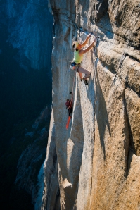 Final pitch rated 5.13 on the route (Free routes El Corazon and Golden Gate meet 1 pitch below).  Photo by Jeremiah Watt